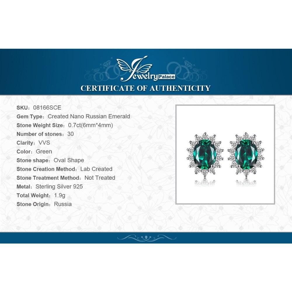 Купить с кэшбэком JewelryPalace Diana Simulated Emerald Stud Earrings 925 Sterling Silver Earrings For Women Korean Earings Fashion Jewelry 2021