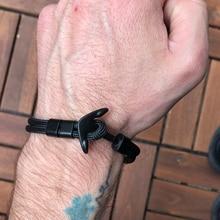 Bracelet ancre hommes charme survie corde chaîne Bracelets Paracord mode noir couleur ancre Bracelet mâle enveloppement métal Sport crochets