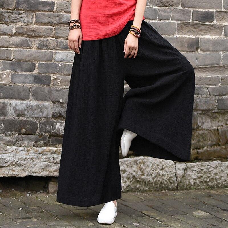 Новое поступление, женские брюки из хлопка и льна, удобные длинные брюки с широкими штанинами, повседневные свободные брюки для девочек, жен...