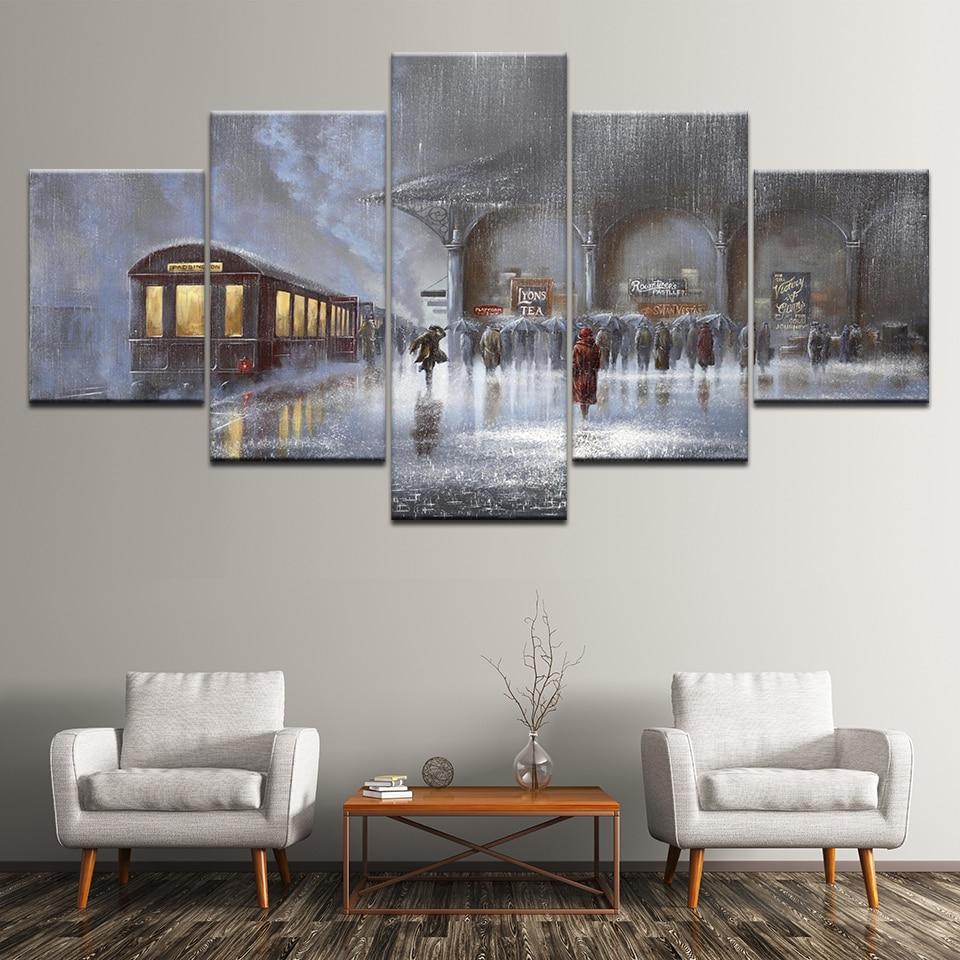 Lienzo de pintura impresa para el hogar 5 piezas/piezas personas corriendo en la estación gran póster HD decoración de pared imágenes artísticas para la sala de estar