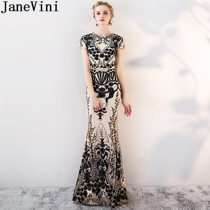 beauty emily a line lace red bridesmaid dresses 2019 long for women wedding party prom women dresses JaneVini 2019 Black Sequined Lace Gold Bridesmaid Wedding Party Dresses for Women Floor Length Mermaid Prom Long Elegant Dresses
