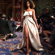 Mode côté fente une ligne femmes longue jupe élégante taille haute ivoire 2019 Faldas adulte jupe plissée étage longueur personnalisé Saias