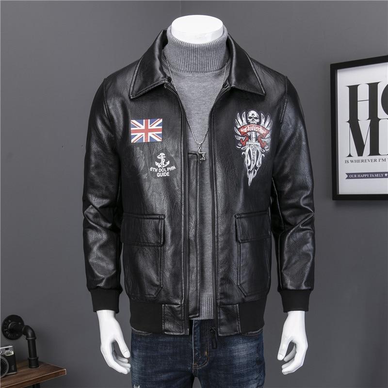 2019 Otoño Invierno chaqueta de cuero Reino Unido Air Force imprimir Cuello de piel desmontable la bandera británica Faux Hombre Abrigos J8013