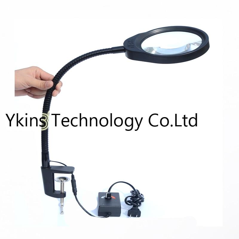 Máquina de Mesa de Lupa Reparação e Inspeção Luz para Leitura Desktop Lupa Haste Macia Pode Ser Escurecido Led 10x