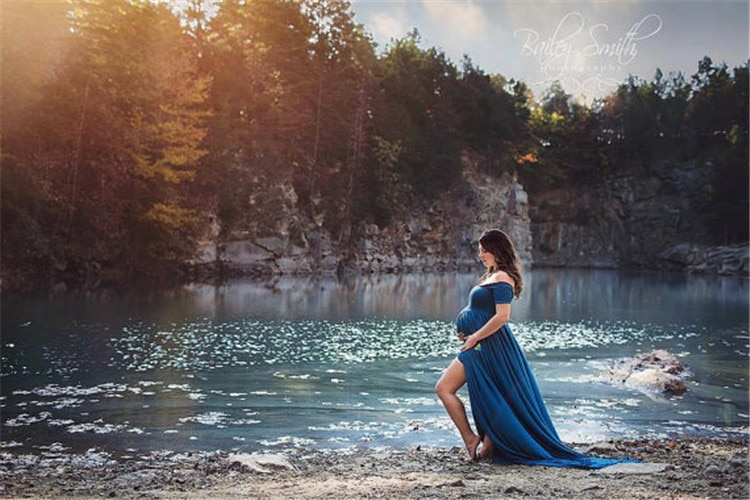 Maternity Photography Props Pregnancy Clothes Maxi Maternity photography Dress Cotton Maternity Dress For photography Props enlarge