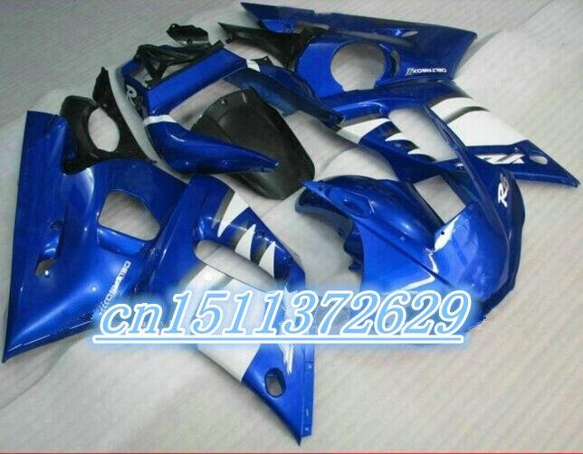 قطع غيار الدراجات النارية لـ YZF R6 fairing 1998 1999 2000 2001 2002 YZF R6 fairings 1998-2002 أطقم أزرق أبيض