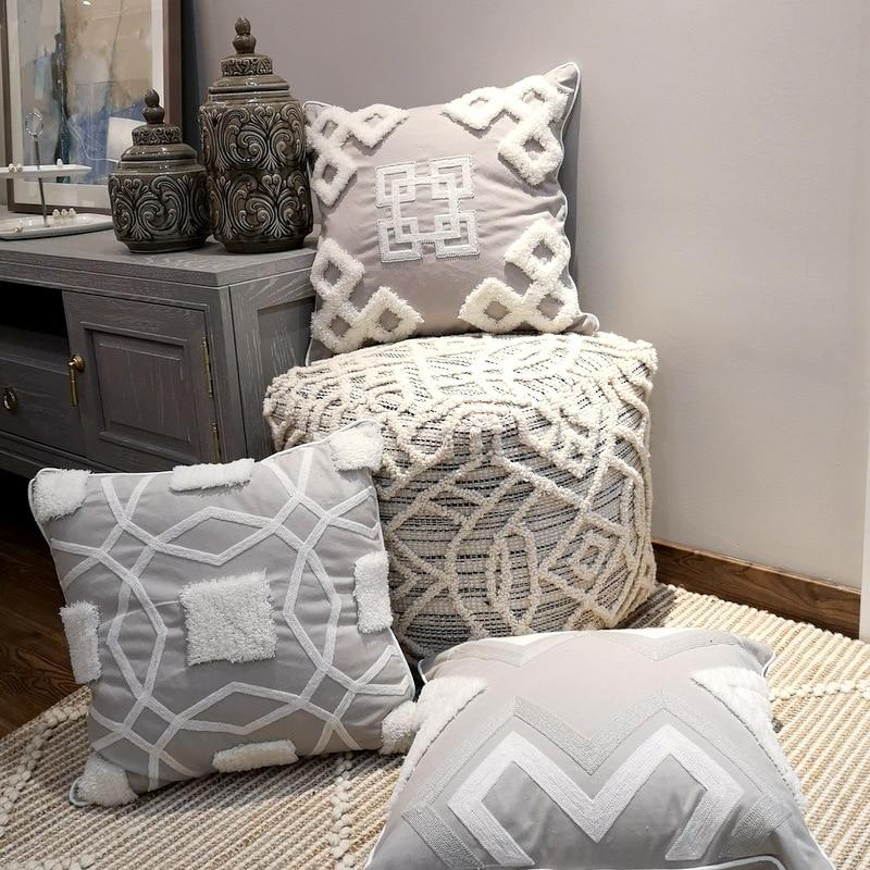 Funda de cojín gris de lujo funda de almohada hecha a mano para sofá asiento estilo marroquí lienzo decorativo franja 45x45cm cremallera abierta
