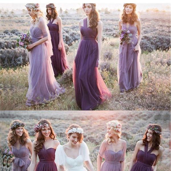 Vestido de noche púrpura y lavanda para dama De honor, traje De Novia multiposición, hermoso Vestido Vintage de fiesta, novedad De 2017