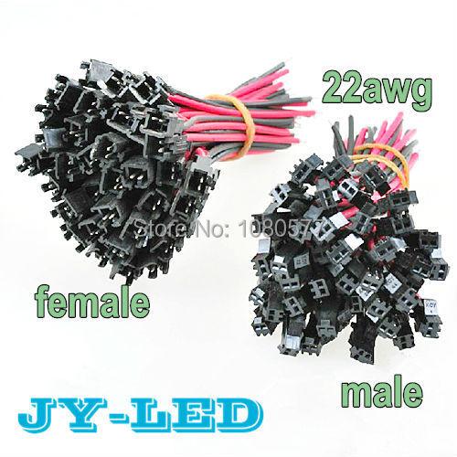50 par/lote 10 cm/unids 20 cm/par cable de conexión LED de 2 pines, cable de terminales de conector macho y hembra, cable extensible SMP 22awg