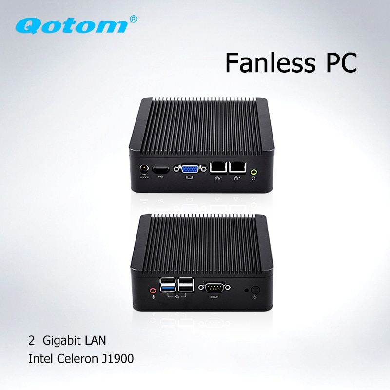 Qotom Mini Computer PC 2* ethernet  Baytrail J1900 ubuntu, linux Mini PC Dual Lan Fanless Industrial