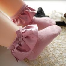 Kids Girls Princess Socks Children Baby Autumn Winter Lace Ruffle Bow Dress Cotton Sock Wholesale