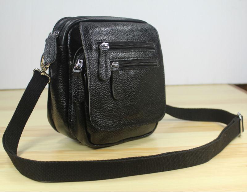 Фото - 3USE Multi-pocket Genuine Leather  messenger Bag Men Leather Crossbody Bag small Shoulder bag  Sling Casual Bag  Black M153 m153 003