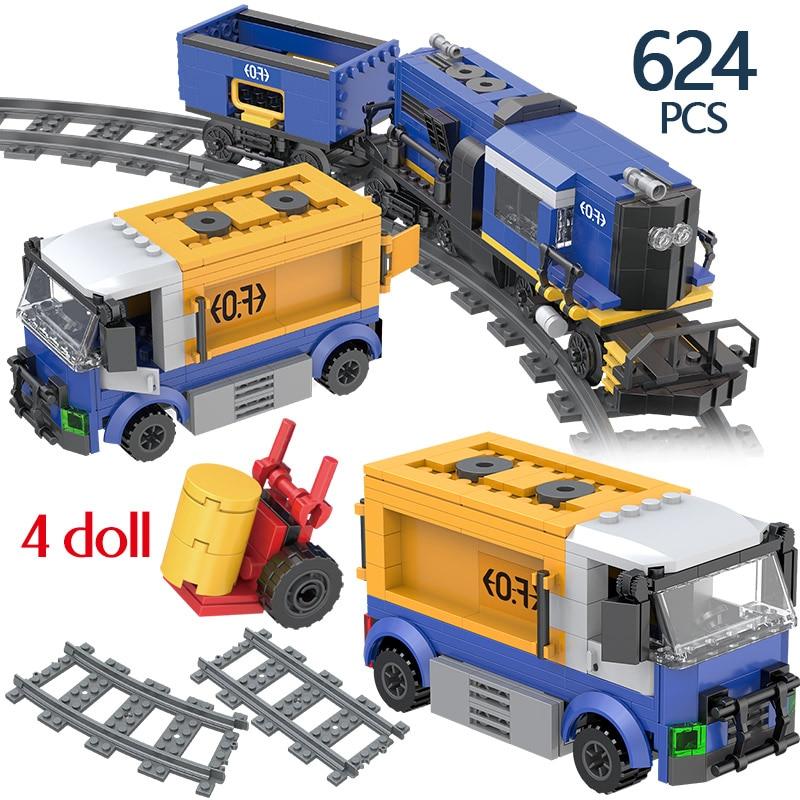 Creatored Technic City Train Transit Freight Track bloques de construcción compatibles City Train serie 624 Uds ladrillos juguetes para niños