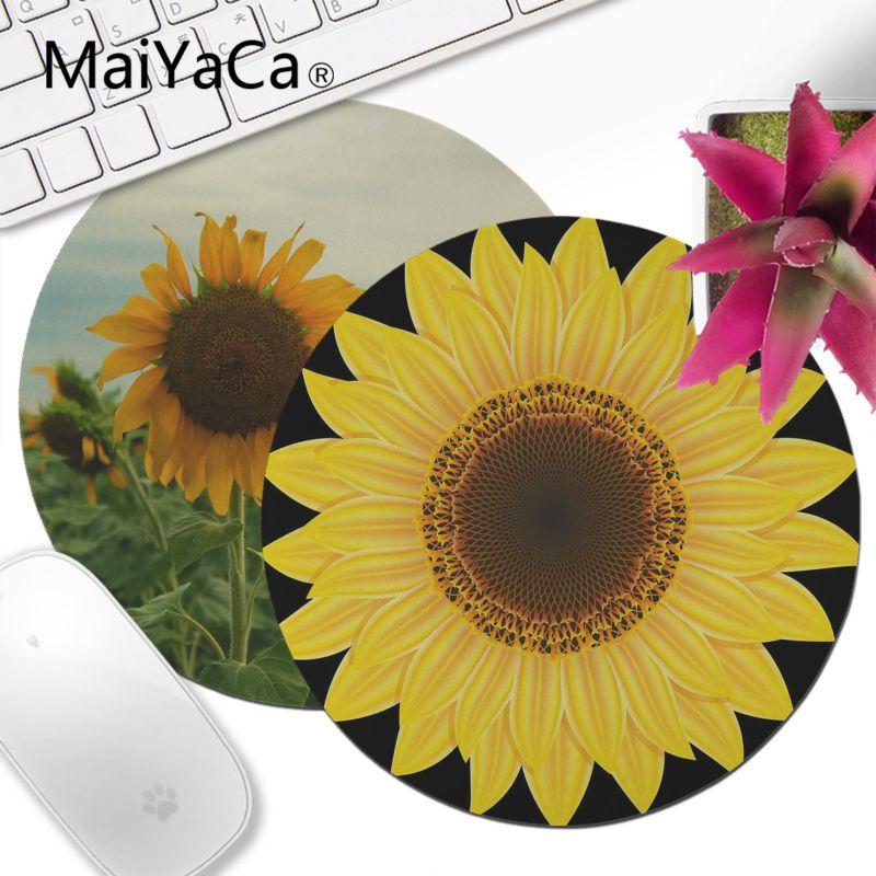 Maiyaca girassol e abelha de alta velocidade nova lockedge mousepad 20x20cm 22x22cm de diâmetro redondo mouse pad