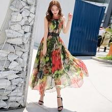 2019 New Floral Bohemia Chiffon Sleeveless Full Dress Lightweight Comfortable Summer Holiday Sundress Flowy Long Maxi Dress