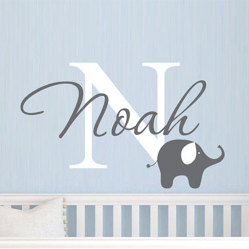Elefante con nombre de niños etiqueta de la pared-etiqueta de la pared del vinilo del nombre de los niños personalizados-etiqueta de la pared del cuarto del bebé elefante, envío gratis