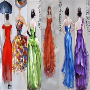 3D wallpaper evening dress lady oil painting TV background wall professional production mural wall covering