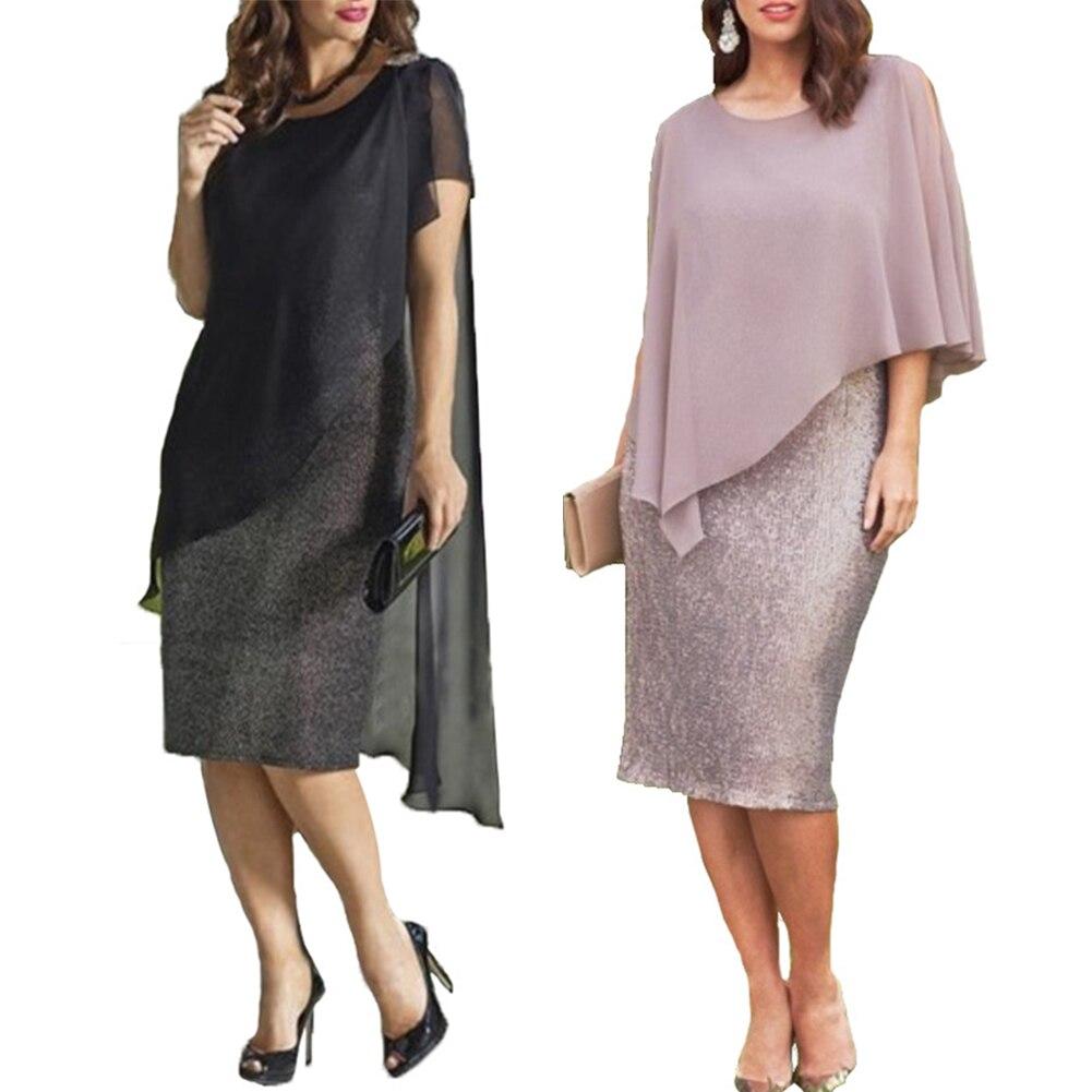 AliExpress - Hot 2021 Spring Elegant Women Plus Size O-Neck Chiffon Patchwork Double Layer Midi Pencil Dress одежда для женщины shirts dress