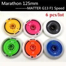 6 unids/lote en línea patines de velocidad rueda F1 125mm MATTER G13 exterior de larga distancia maratón carrera competición una 20 cinco ruedas