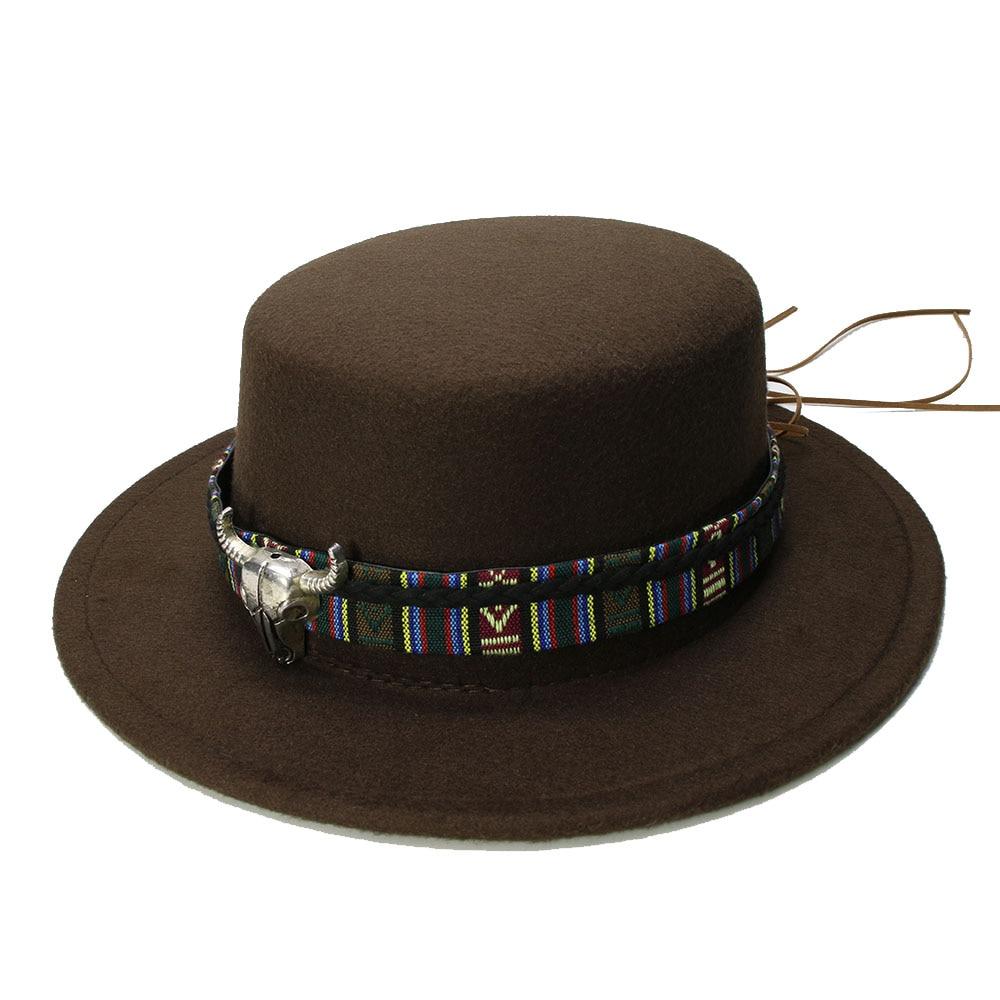 LUCKYLIANJI Retro mujeres hombres Vintage lana de 100% gorra con visera ancha cerdo Pie Porkpie Bowler sombrero Bull cabeza de piel banda (57cm/ajustado)