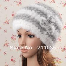 Femmes hiver vison chapeau tricoté béret thermique fourrure chapeau chapeau dhiver dame Rose vison fourrure chaud renard fourrure crânes et bonnets chapeaux Qc