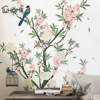 charming romantic apricot flower wall sticker for living rooms apricot tree birds wall decal bedroom sofa decoration wall art
