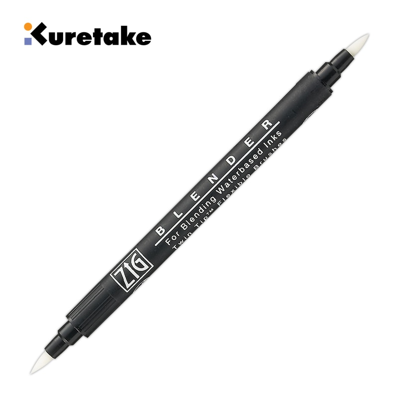 1pc ZIG Kuretake Blender Brush Marker Transparent Water-based Pigment Gradient mixing  Twin Tip Flexible Brushes Pen Illustrator
