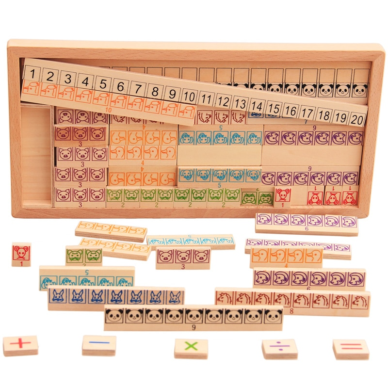 Kids Montessori Wooden Toys Math Toy Arithmetic Addition Subtraction Multiplication Early Learning Teaching Math Shape Cognition addition and subtraction operation games learning math educational toys wooden parent child kindergarten teaching aids toys