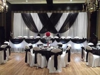 10ft x 20ft pure white wedding backdrop with black swags luxury wedding decoration
