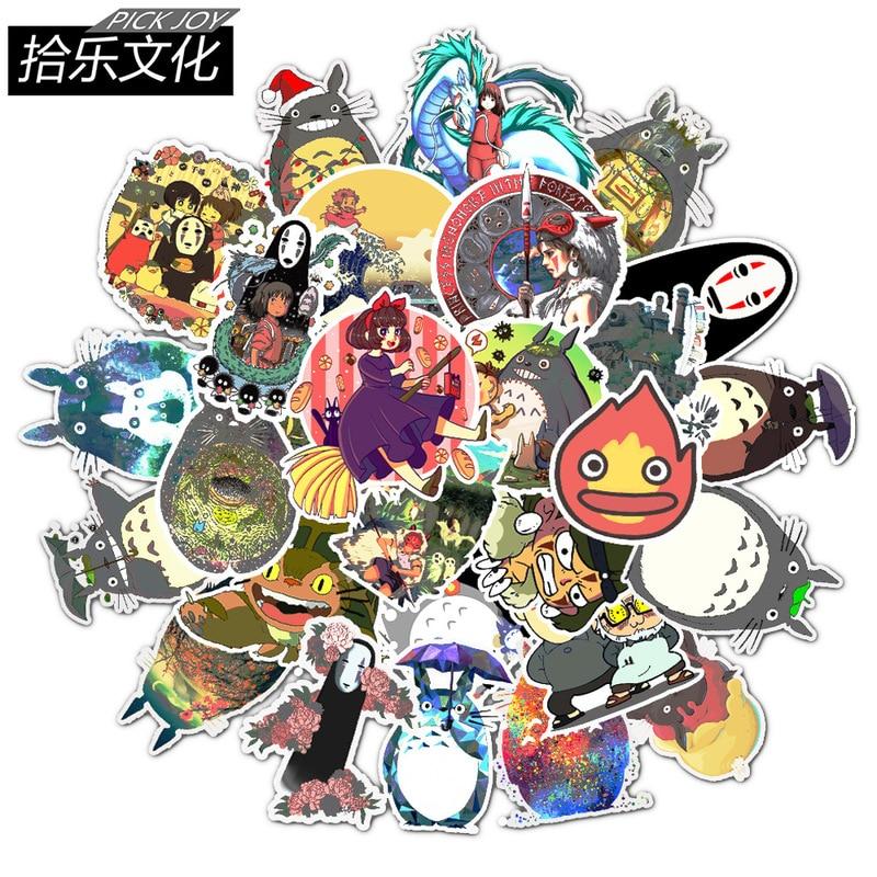 50 unids/lote, película japonesa My Neighbor Totoro, lindas pegatinas de papelería para coche, portátil, calcomanía para equipajes, tabla de Skate de nevera