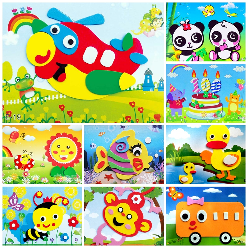 DIY Cartoon Animal 3D EVA Foam Sticker Puzzle Toys For Kids Girl action Learning Education Toys Kids Birthday Party Gift