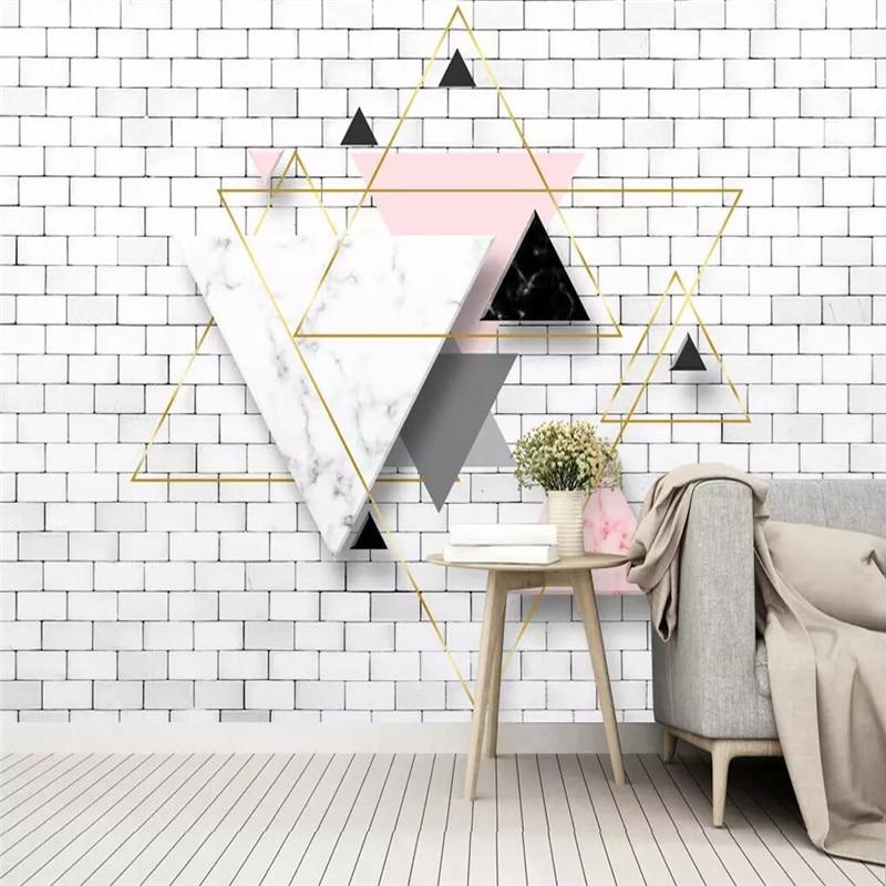 3D الحديثة مجردة هندسية مثلث التلفزيون حائط الخلفية المهنية مخصص جدارية الجملة خلفيات المشارك الصورة جدار