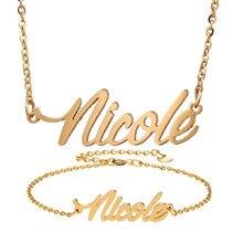 "Mode Edelstahl Name Halskette Armband Set ""Nicole"" Skript Brief Gold Halsband Kette Halskette Anhänger Typenschild Geschenk"