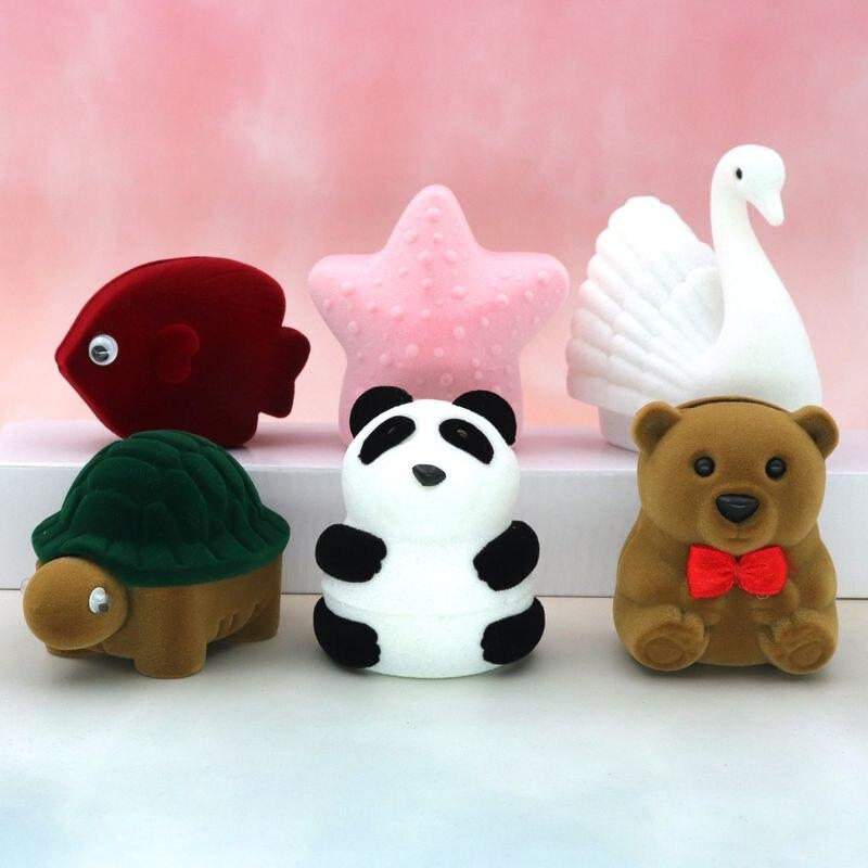 Бархатное милое ожерелье с пандой, медведем, звездой, рыбой, лебедем, черепаховое ожерелье, кольцевая шкатулка для серег, подарочные коробки для ювелирных изделий, оптовая продажа