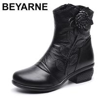 BEYARNE Herbst Winter Retro Stiefel Handmade Stiefeletten Echte Echtem Leder Schuhe Botines Mujer Frauen Schuhe Damen Leder Stiefel