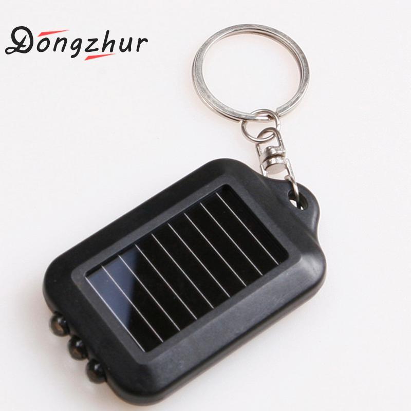 Mini linterna portátil negra con 3 luces LED de energía Solar, linterna de llavero, herramientas de luz de emergencia para exteriores