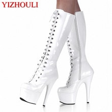 sexy clubbing pole dancing Knee High Boots 6 inch high heel shoes winter fashion sexy warm long 15cm zip Platform women boots