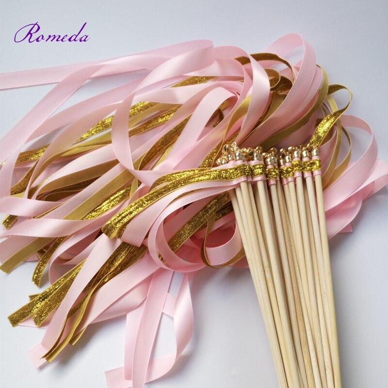 ¡Novedad! 50 unids/lote de varitas de cinta con purpurina Rosa varitas para boda, palo con campana dorada para decoración de bodas