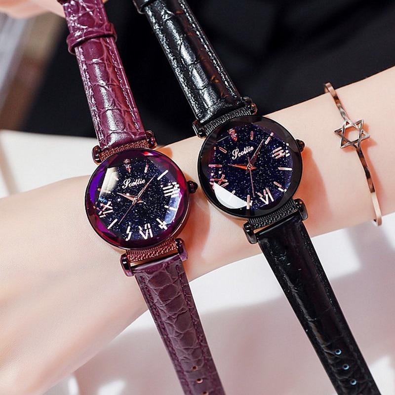 New Style Starry Dial Women Watches Lady Rhinestone Casual Quartz Watch Female Luxury Leather Strap WristWatch Clock reloj mujer enlarge