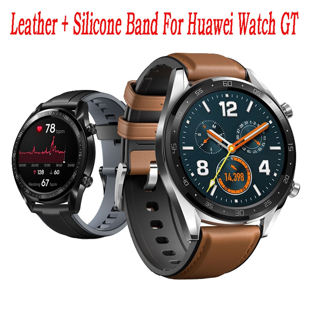 Men's Watches New 202 Smart Watch Leather +silicone Wrist Band Strap For Huawei Watch Gt / Active