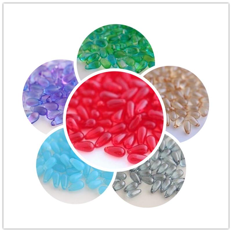 5*10 MM 50 Teile/paket Mischfarben Water Drop Teardrop Tschechische Kristall Perlen Schmuck Perlen