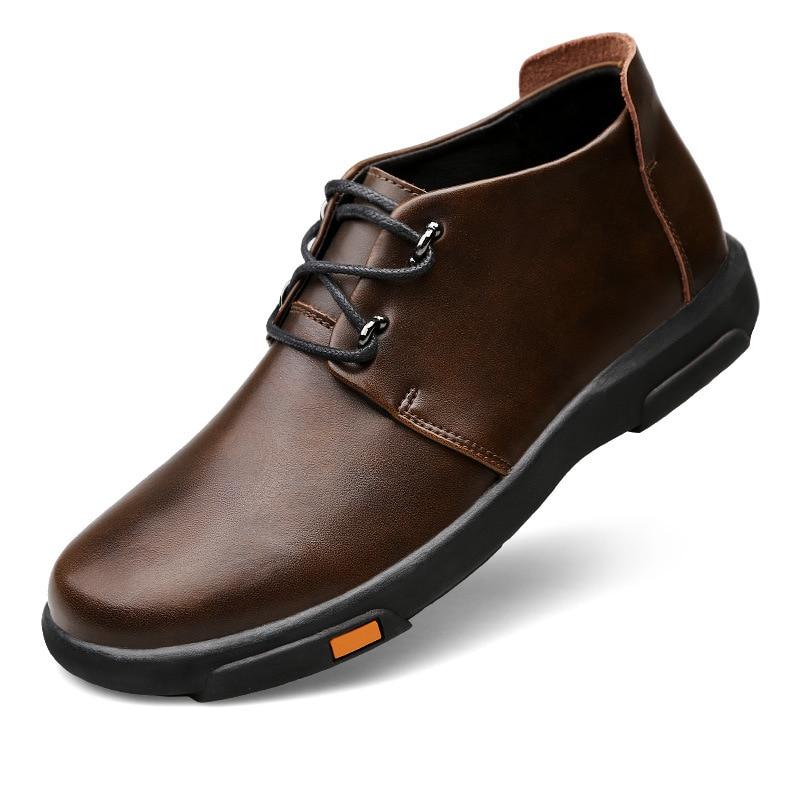 Men's Skateboarding Boots Vntage Genuine Leather Outdoor Sport Skateboard Plate Shoes High Upper Travel walking Sneakers New
