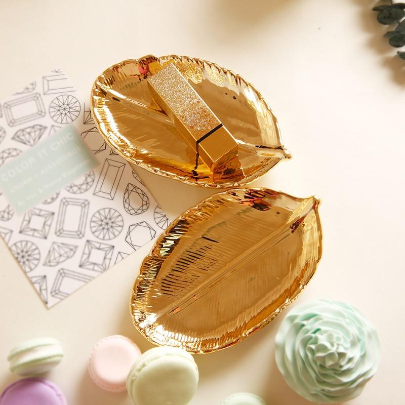 Hoja de oro de cerámica bandejas para Cocina Comida fruta plato de dulces joyas baratija pantalla placa bandeja de para artesanía de decoración para boda