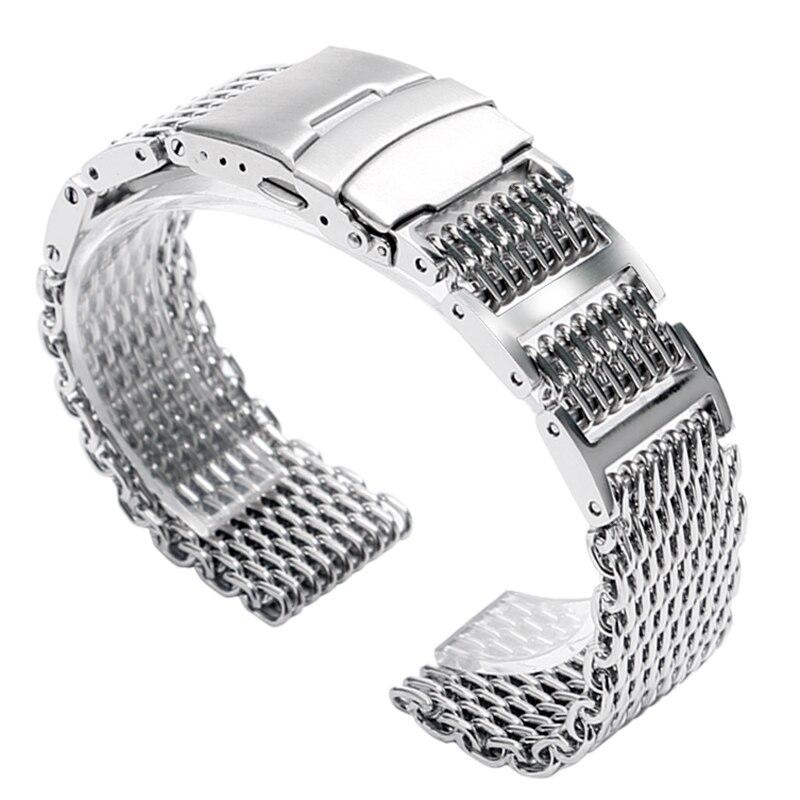 Correa de reloj HQ pulsera Cool cierre plegable con seguridad 20/24mm mujeres hombres plata Shark Mesh Solid Link correa de acero inoxidable
