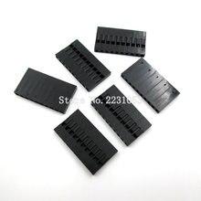 50 piezas Dupont conector 1*10 P 1*10 pin 10 Pin sola fila 2,54mm carcasa de plástico carcasa de Cable de puente con agujero pasante