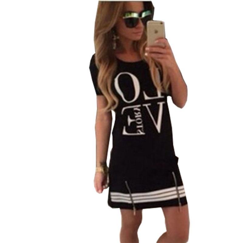 Camiseta amor feminino letras impressas zíper longo t camisa feminina topos roupas de manga curta vestidos dropshipping lbd301