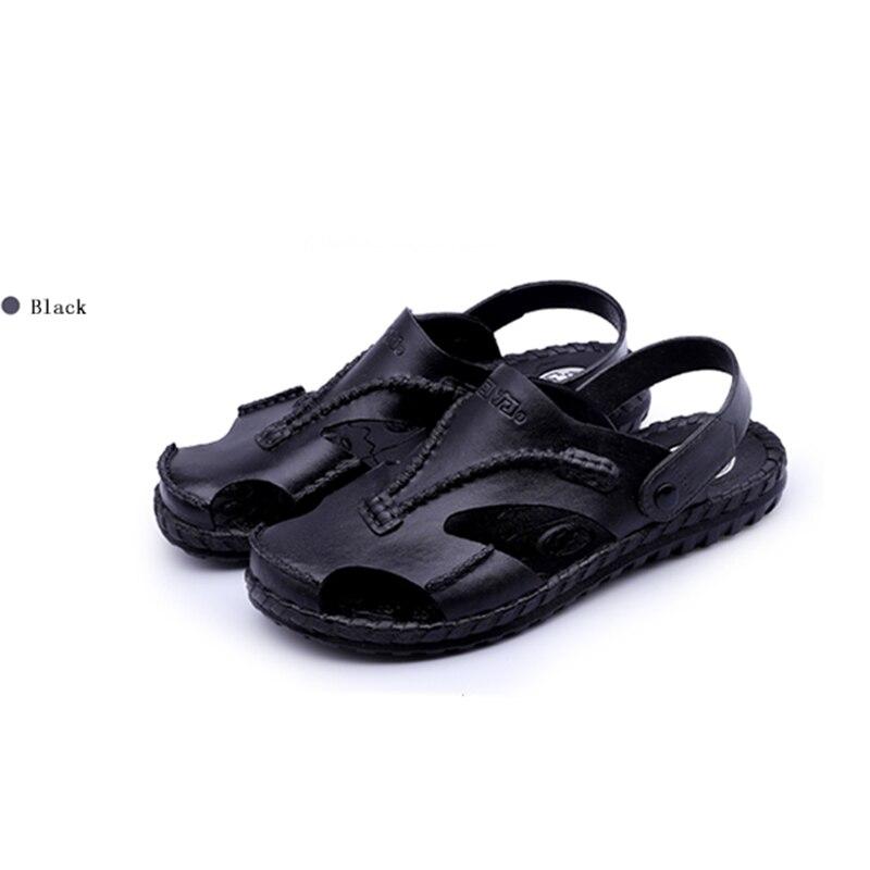 Sandalias para hombre 2019 sandalias de verano para hombre sandalias de piel de playa de moda para hombre ropa de cuero genuino antideslizante fondo plano dos zapatos crocse