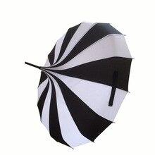 Nouveau Design créatif noir et blanc rayé Golf parapluie à longue poignée droite pagode parapluie (10 pièces/lot)