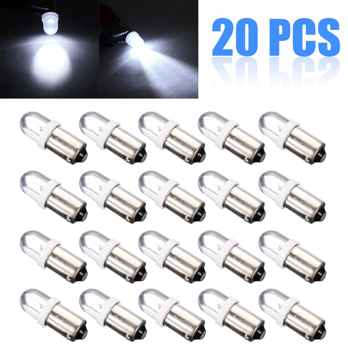 20pcs T11 Door Light T4W BA9S H6W 1895 1SMD LED 12V Turn Signal Dashboard Light Bulb White
