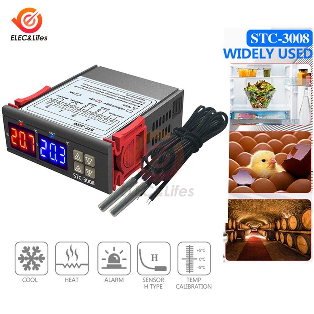 STC-3008 двойной цифровой регулятор температуры два релейных выхода 12 в 24 В 220 В терморегулятор Термостат с нагревателем охладитель STC3008